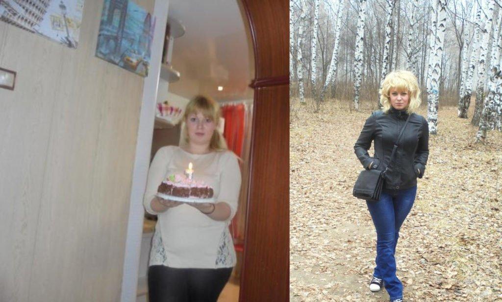 Фотографии девушки до и после использования Глюкофажа для похудения