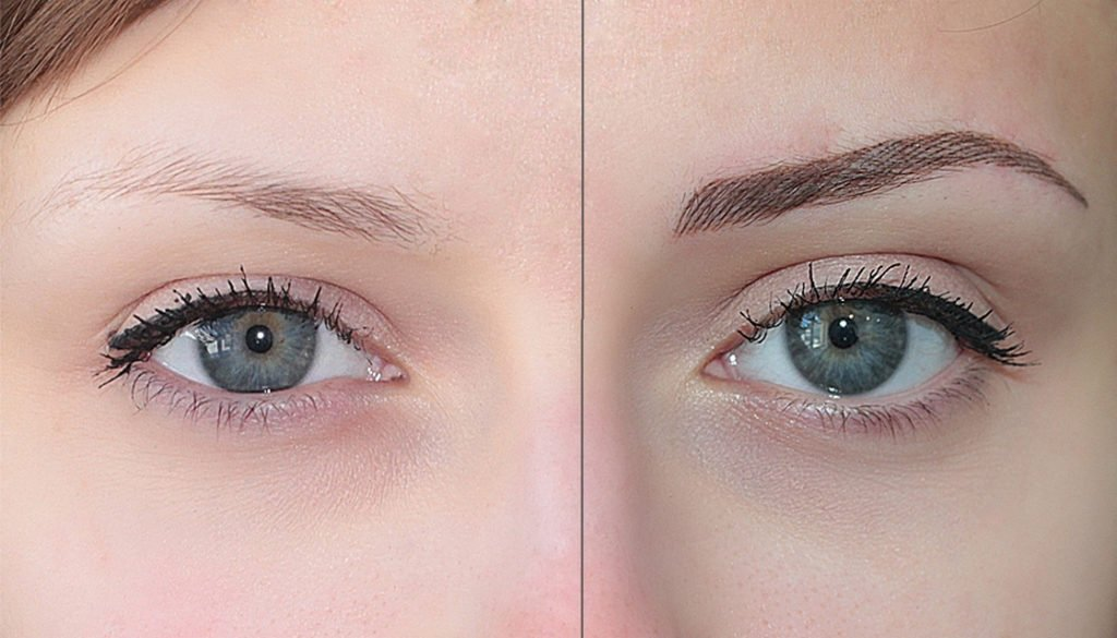 Девушка до и после перманентного макияжа